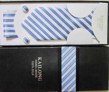 ست کراوات جعبه دار رنگ سفید با خطوط آبی