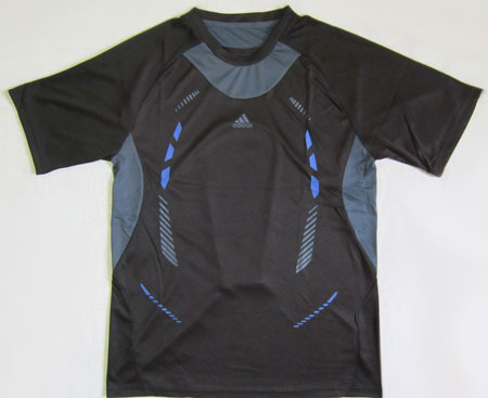 تیشرت آدیداس مشکی طرحدار طوسی و آبی سایز L