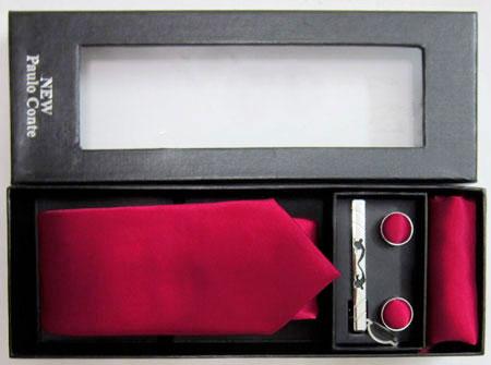 ست کامل کراوات رنگ قرمز پررنگ مارک paulo conte