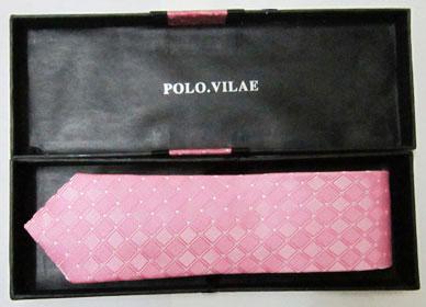 خرید اینترنتی کراوات باریک صورتی طرح دار مارک پلو با جعبه