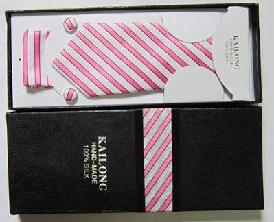 ست کراوات جعبه دار سفید و صورتی شیک